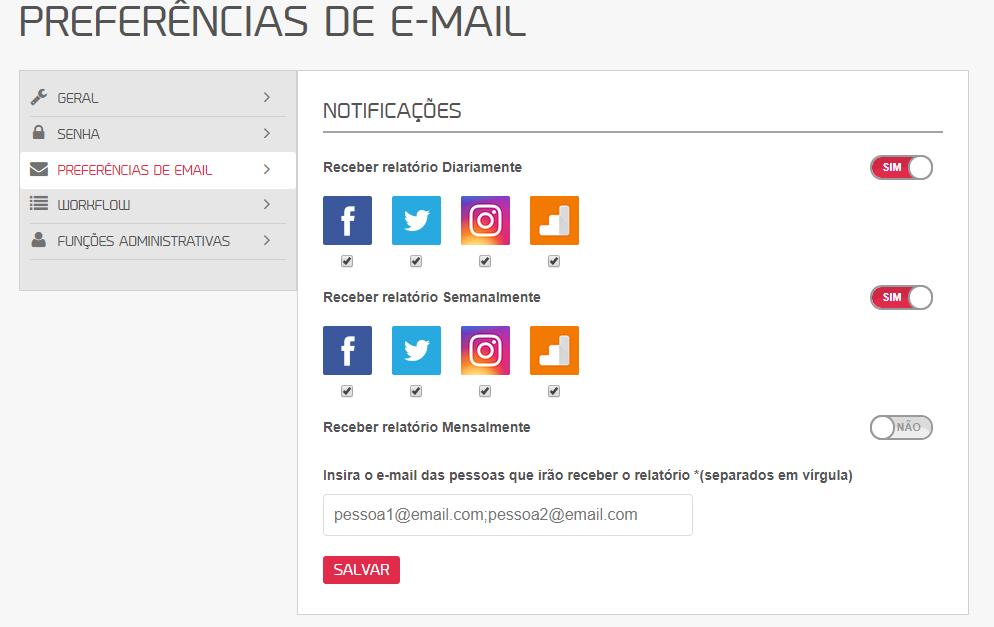 configurando preferencias de email na mlabs